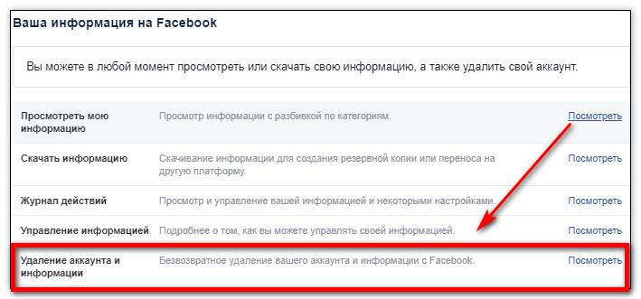 Удалить аккаунт Фейсбук