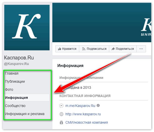 Меню в группе Каспаров.ру на Facebook