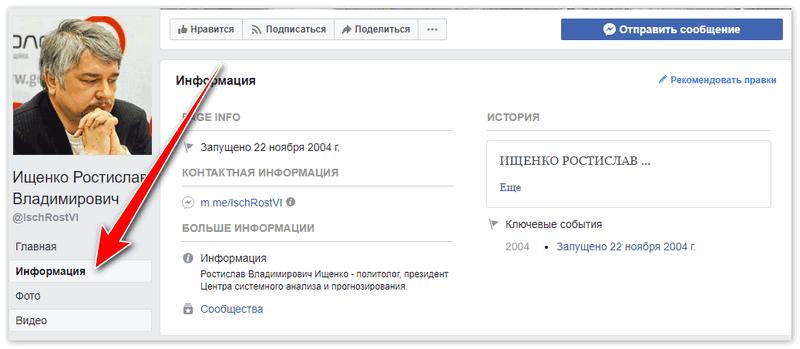 Ростислав Ищенко в Фейсбук - Информация