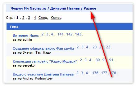 Вкладка Разное на Форуме сайта Мистер Нагиев